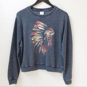 Abercrombie Distressed Metallic Tribal Sweatshirt